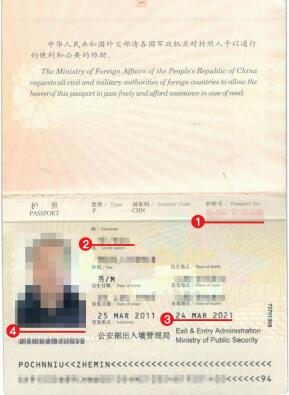 几内亚签证护照模板